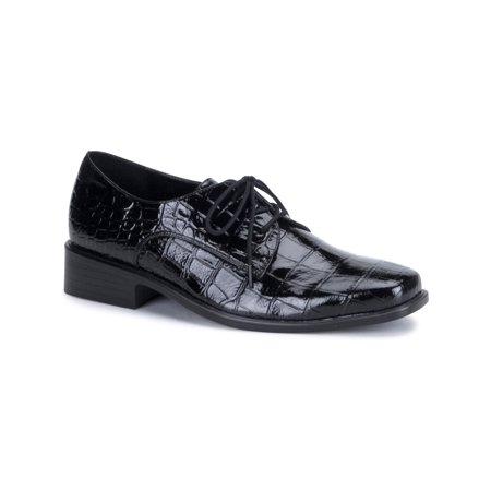 Black Alligator Pattern Mens Oxford Shoes Lace Up