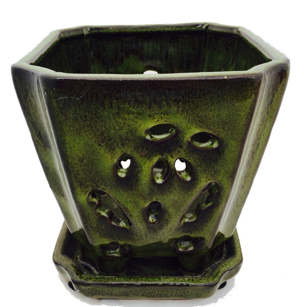 "Square Ceramic Orchid Pot/Saucer + Felt Feet- 5"" x 5 1/8"" -Tropical Green #14695"