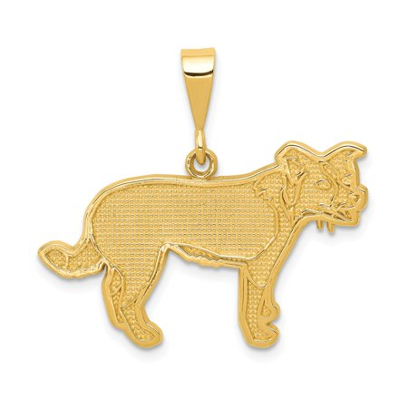 Yellow Gold Collie (Solid 14k Yellow Gold Border Collie Pendant (30mm x)