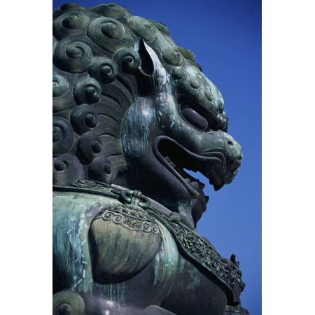 Detail of Lion Sculpture at the Temple of Heaven in Beijing Print Wall Art By Macduff Everton