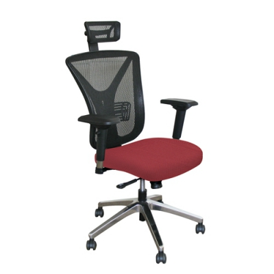 Executive Mesh Chair with Raspberry Fabric with Aluminum Base and Headrest MV...