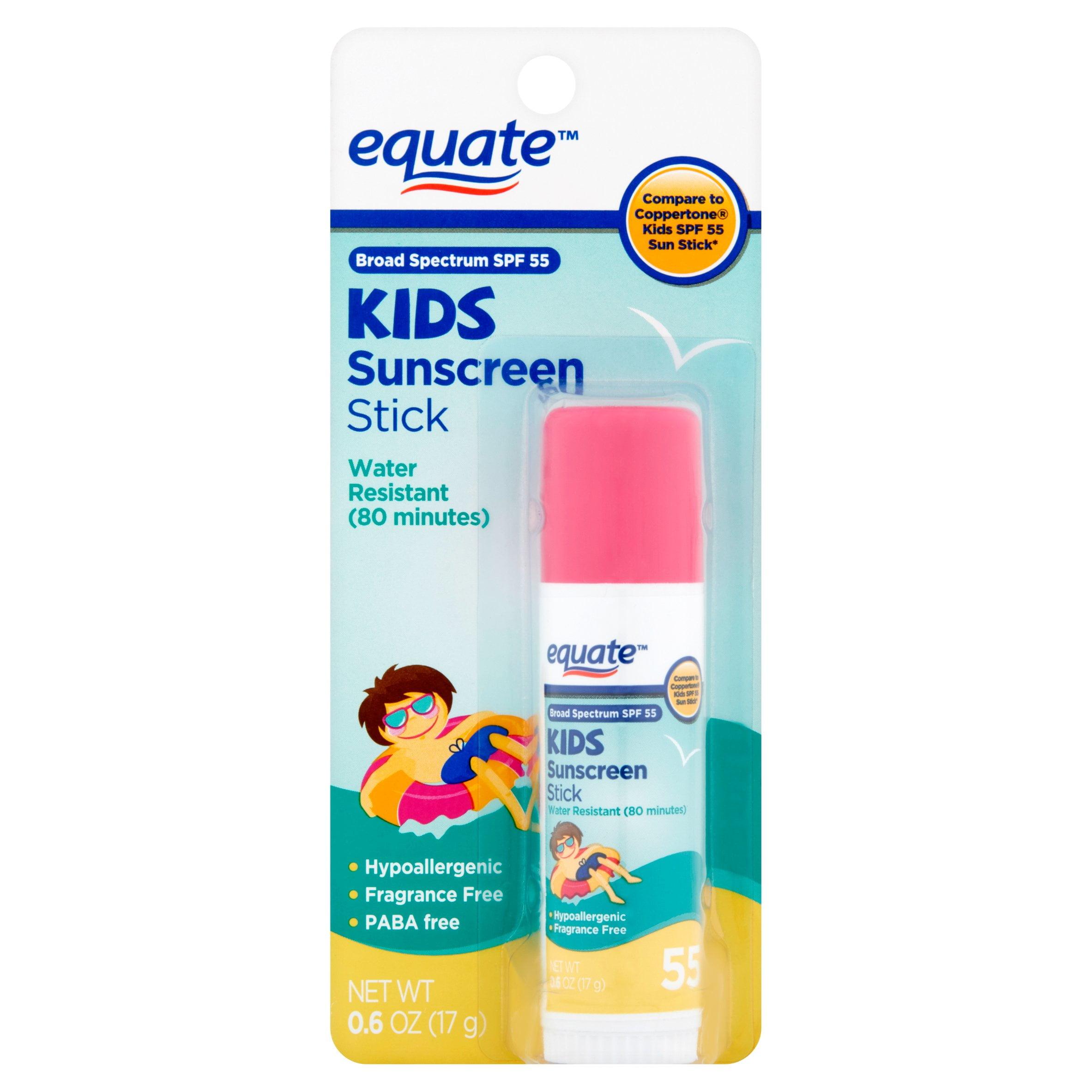 Equate Kids Broad Spectrum Sunscreen Stick, SPF 55, 0.6 Oz