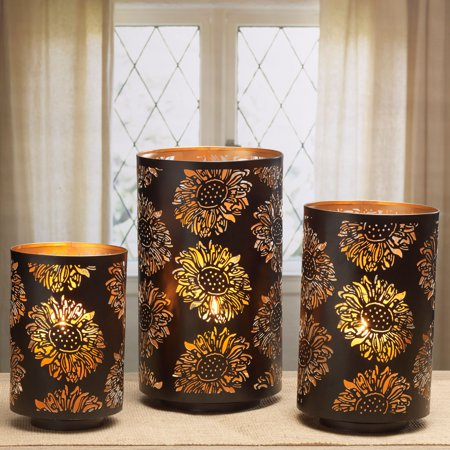 Elements Set of 3 Metal Sunflower Luminaries in Assorted Sizes ()