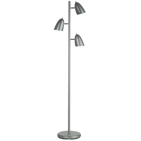 Satin Chrome Floor - Dainolite 3 Light Floor Lamp - Satin Chrome