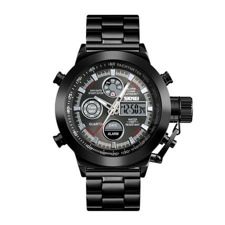 SKMEI 1515 Men Quartz Watch Professional 3ATM Water Resistant Double Display Double Movements GMT Time Multifunctional Luminous Digital Watch Black Gmt Quartz Watch