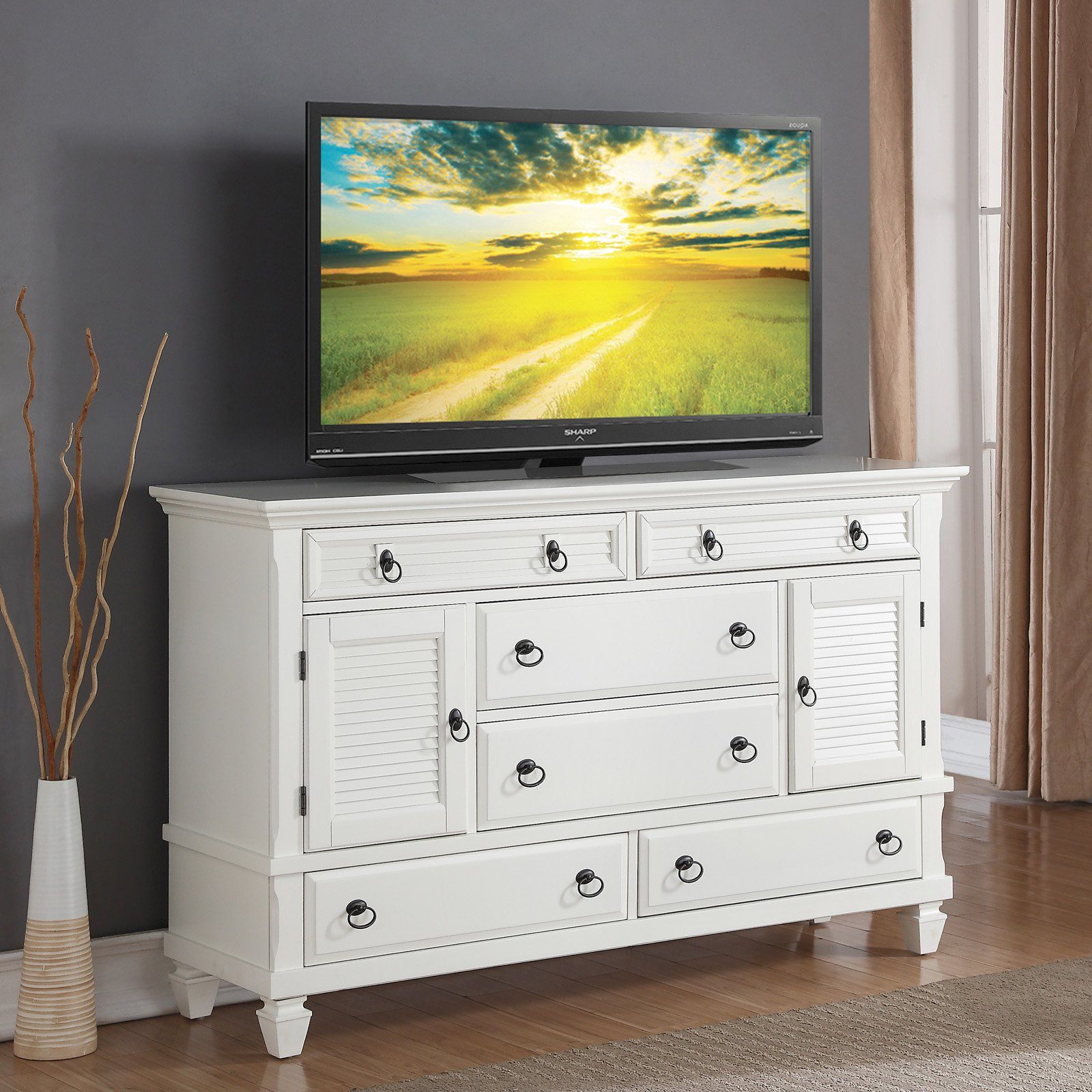 Roundhill Furniture Regitina 6 Drawer Dresser with 2 Doors