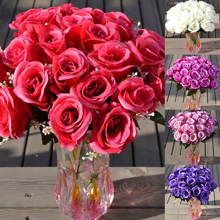 Diamonique Rose - Girl12Queen 1 Large Bouquet 24 Heads Fake Rose Artificial Flower Wedding Party Home Decor
