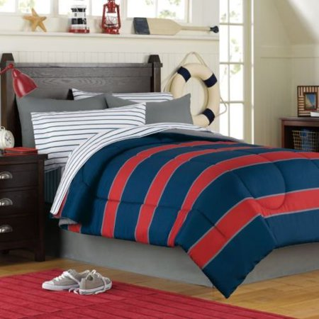 b2a052a3c Blue & Red Rugby Stripe Boys Twin Comforter Set (6 Piece Bed In A Bag) -  Walmart.com