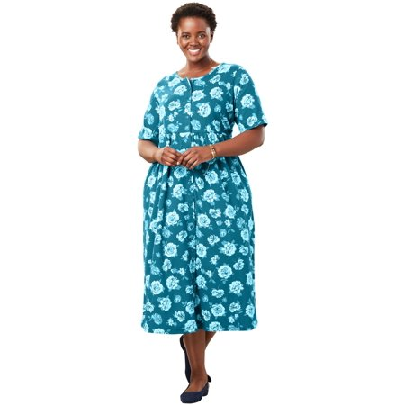 Woman Within Plus Size Petite Button-front Essential Dress