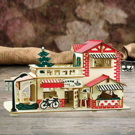 Romantic Wooden Coffee Shop Cottage Dollhouse Miniature Kit Dolls House & Furniture DIY Gift