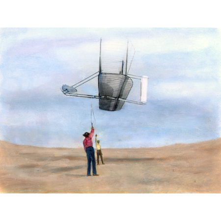 Hawk Glider (Wright Brothers Glider Ndan Tate (Foreground) And Wilbur Wright Testing One Of The Wright Brothers Gliders At Kitty Hawk North Carolina 1902 Oil Over A Photograph Rolled Canvas Art -  (24 x 36))