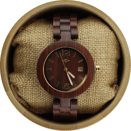 Angie Wood Creations Red Sandalwood Women's Watch with Luminous Gold Hands - image 3 de 7