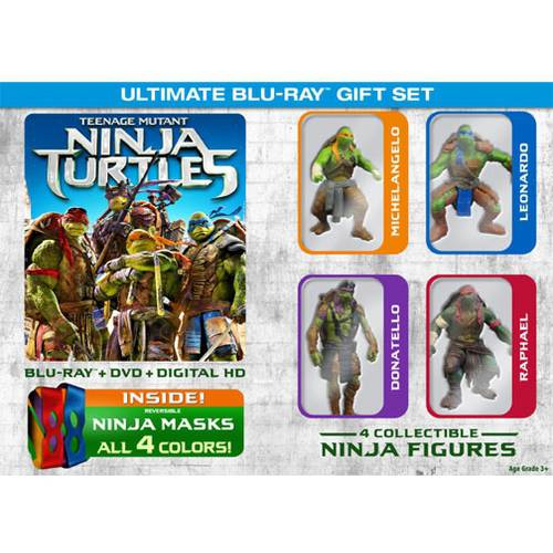 Teenage Mutant Ninja Turtles (Ultimate Gift Set) (Blu-ray + DVD + Digital HD + All 4 Ninja Masks + 4 Collectible Ninja Figures) (Walmart Exclusive)