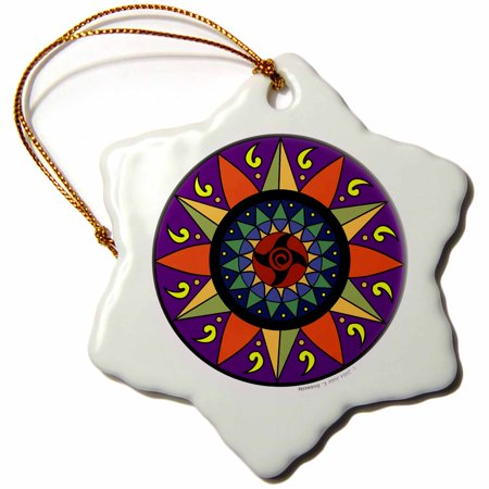 3dRose Hex Sign 2 Pennsylvania Dutch Luck Protection Symbol - Snowflake Ornament, 3-inch ()