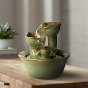 """John Timberland Modern Organic Zen Indoor Tabletop Water Fountain 8"""" High Cascading Lilies for Table Desk Office Home Bedroom"""