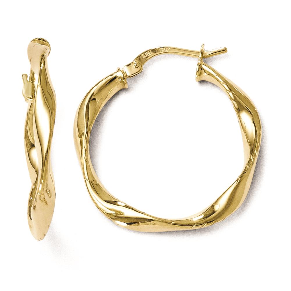 Leslies 10k Yellow Gold Polished Twisted Hinged Hoop Fancy Earrings 25mm x 3mm