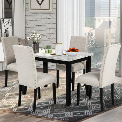 5 piece dining set faux marble dining set for small