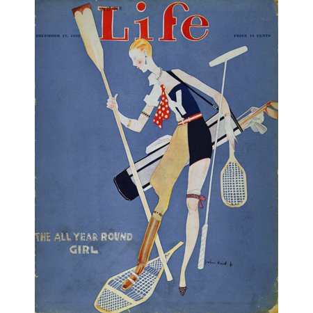 All Round Magazine - Held Year Round Girl 1925 NThe All Year Round Girl Life Magazine Cover 1925 By John Held Jr Rolled Canvas Art -  (24 x 36)