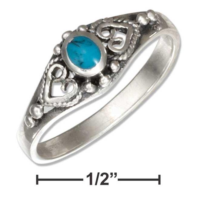 P-018004-07 7 in. Sterling Silver Bali Style Oval Simulated Turquoise Ring - image 1 of 1