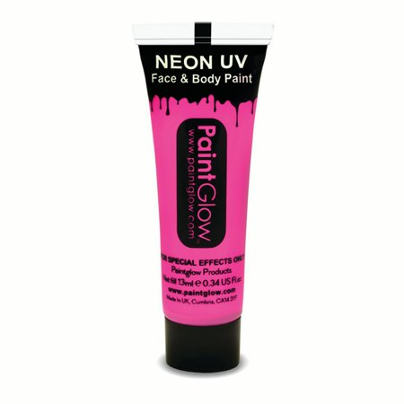 PaintGlow Neon UV Reactive Face & Body Paint 10ml Liquid Makeup, Neon Pink - Simple Halloween Face Paint For Girls