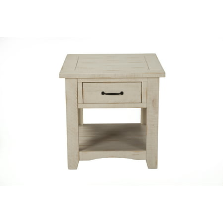 Martin Svensson Home Rustic Collection End Table, Antique White White Antique End Table