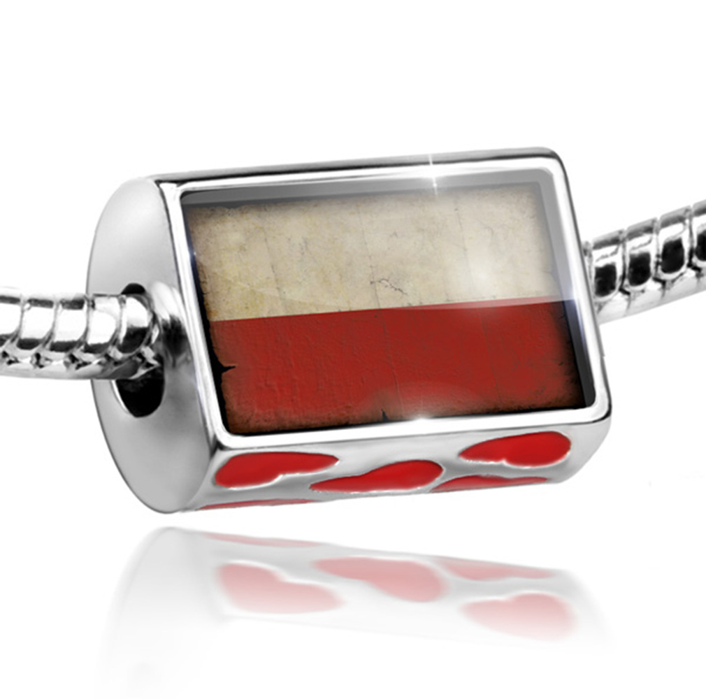 Bead Poland Flag with a vintage look Charm Fits All European Bracelets by NEONBLOND