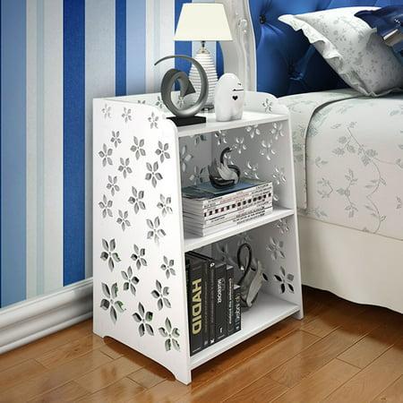 3 Size Modern Carved Flower Bedside Table Cabinet Storage Bedside Nightstand Table Bedroom Living Room Furniture