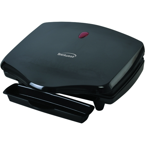 Brentwood Indoor Electric Grill Low Fat Non-stick Coating Drip Tray Includes Spatula Black