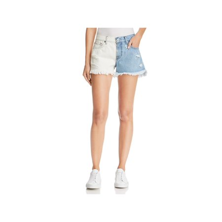 7 For All Mankind Womens Distressed Raw Hem Denim Shorts White 32 7 For All Mankind Ginger