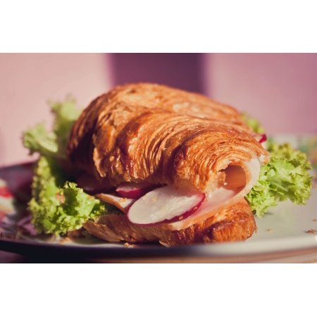 Laminated Poster Light Morning Croissant Food Salad Sandwich Poster Print 11 x - Croissant Sandwich