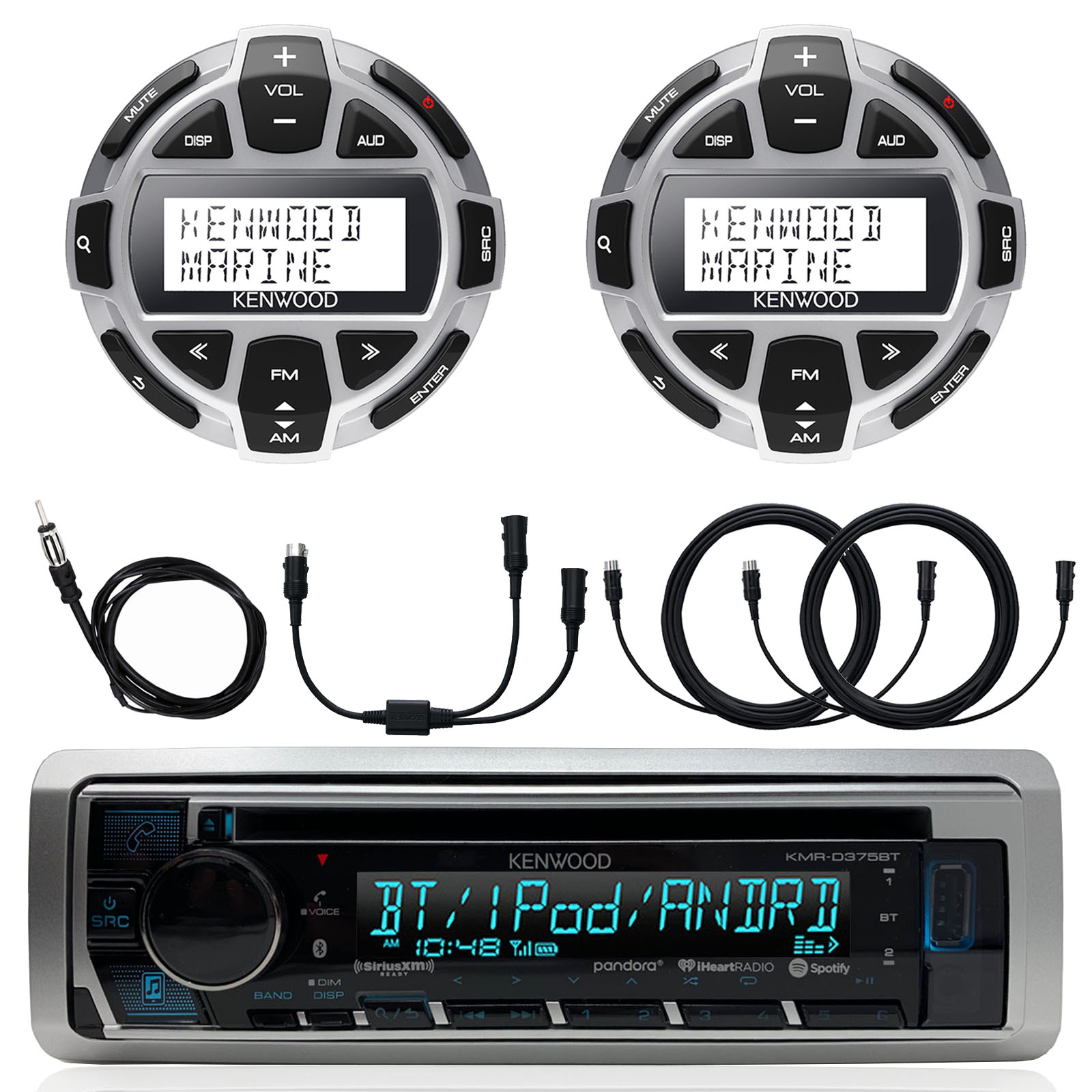 """Kenwood Marine Motorsports Boat Yacht In-Dash Single DIN CD Bluetooth UBS AUX Receiver, 2x Kenwood Digital LCD Display Wired Remote, 40"""" AM/FM Antenna, Y-Cable Adapter, 2x 7-Meter 22 Ft Extension"""