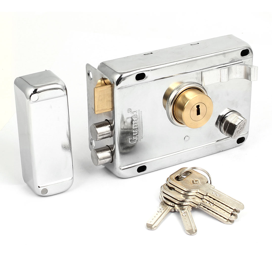 Home Room Metal Deadbolt Rim Night Latch Door Lock Set Silver Tone w 5 Keys