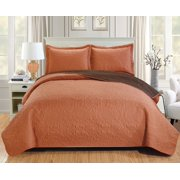 Lexington 3-Piece Reversible Quilt Set - King, Spice/Chocolate