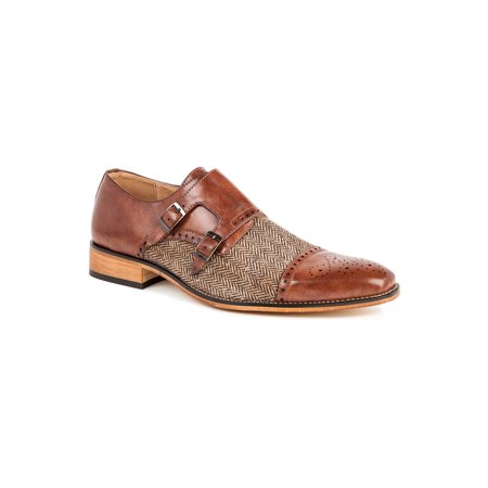 Gino Vitale Men's Double Monk Strap Herringbone Dress - Mens Brown Croco Strap
