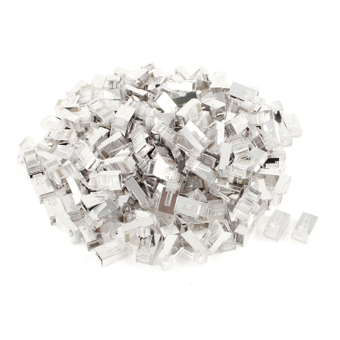 200 Pcs Silver Tone Shielded RJ45 8P8C Network LAN CAT5E CAT6 Modular Connector