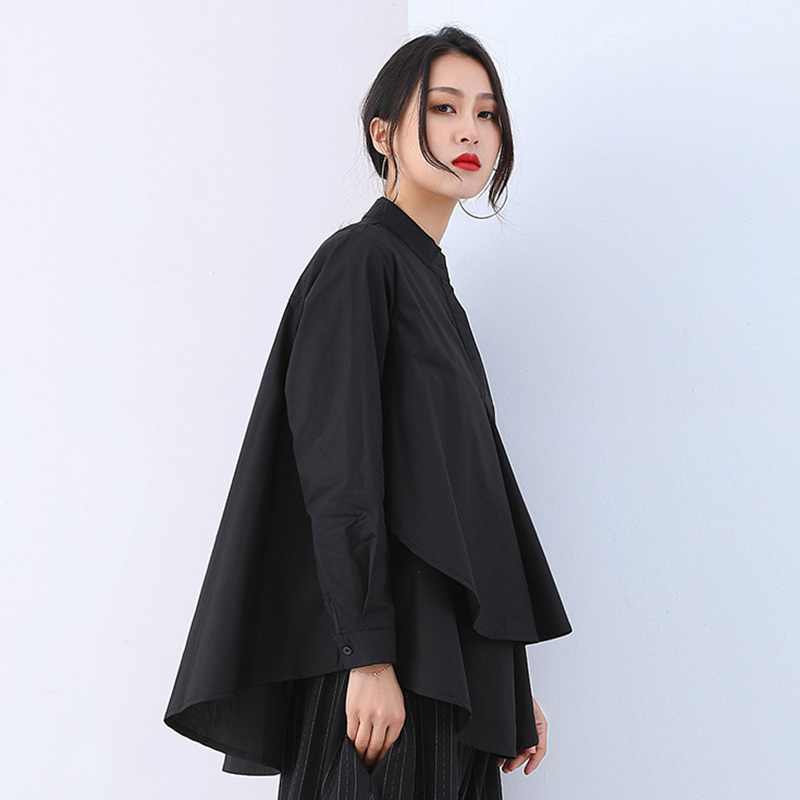 Stand Collar Long Sleeve Patchwork Split Asymmetrical Blouse - image 3 of 5