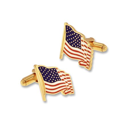 PinMart's USA Patritoic American Flag Cufflinks with Gift Box - Gold or - Gold Pave Cufflinks
