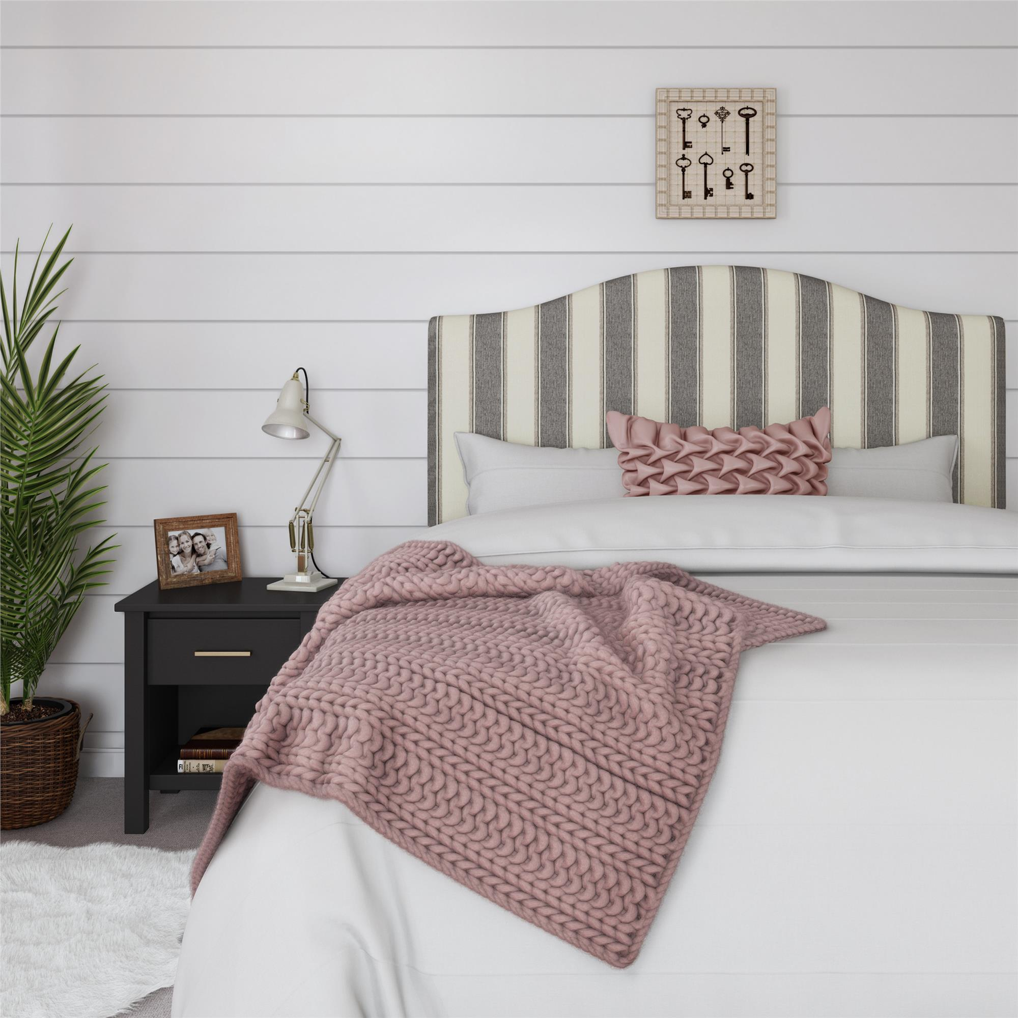 Better Homes and Gardens Grayson Striped Full/Queen Linen Upholstered Headboard, Multiple Colors