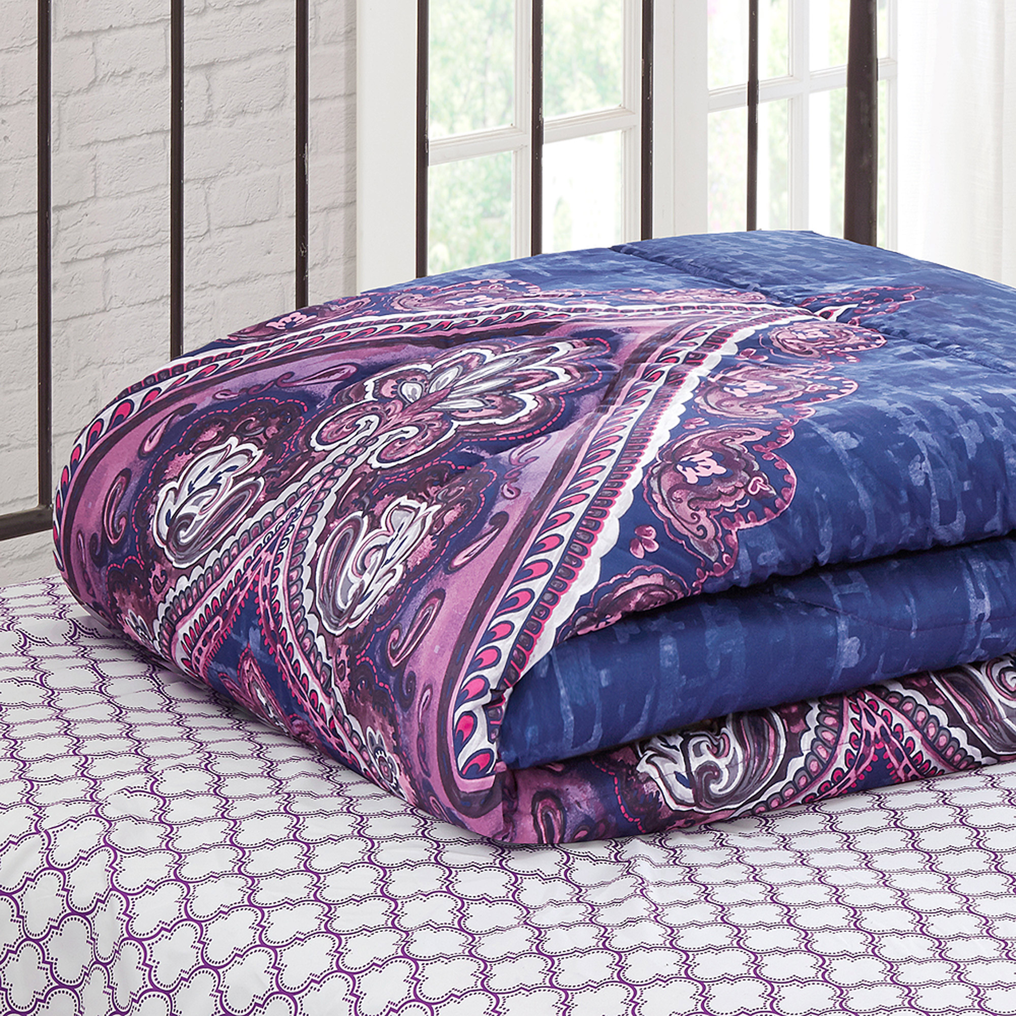 exceptional Purple Queen Size Comforter Part - 16: Mainstays Grace Medallion Purple Bed in a Bag Complete Bedding Set -  Walmart.com