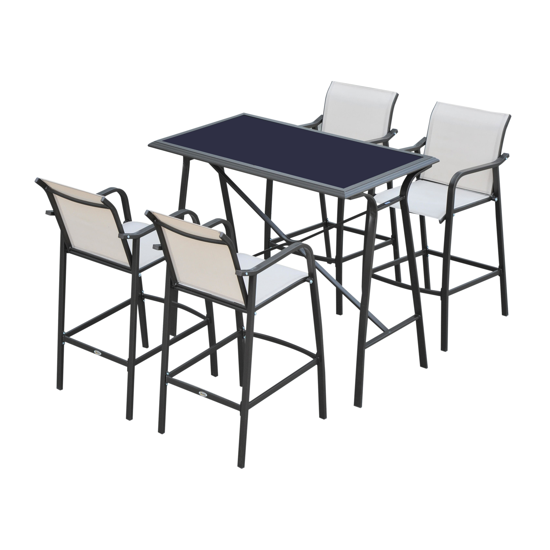 Aosom Outsunny 5-Piece Outdoor Patio Sling Bar Dining Set