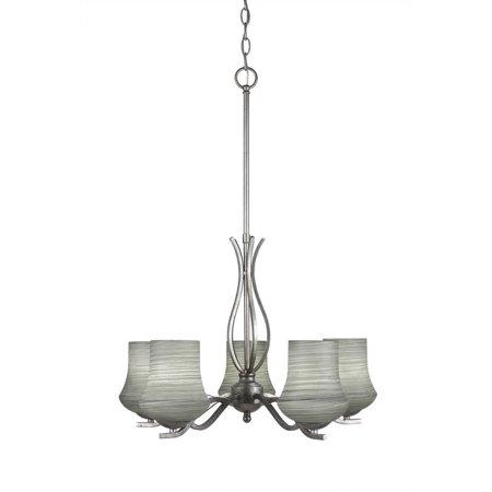 Aegis 5 Light - Toltec Lighting-245-AS-682-Revo - Five Light Chandelier  Aged Silver