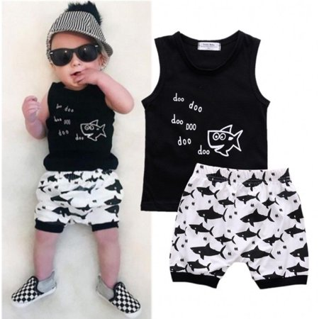 2PCS Baby Boys Cartoon Shark T-shirt Tops Vest Shorts Pnats Summer Outfits Set Clothes - The Incredibles Outfits