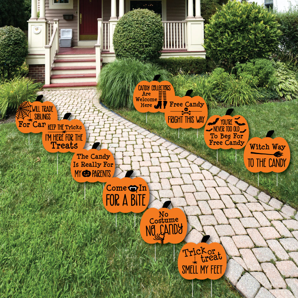 Big Dot of Happiness Funny Trick or Treat - Pumpkin Lawn Decorations - Outdoor Halloween Yard Decorations - 10 Piece, Grey