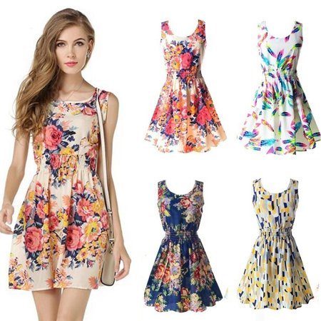 Women Chiffon Sleeveless Sexy Casual Slim Floral Dress Princess Beach Lady Dress