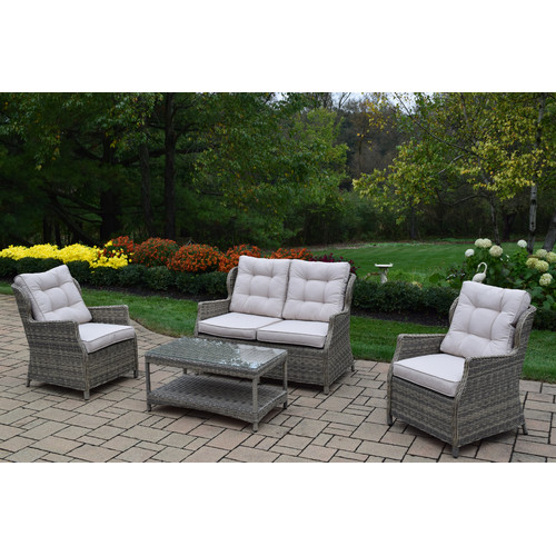 Oakland Living 4 Piece Deep Seating Group with Cushion by Oakland Living Corporation
