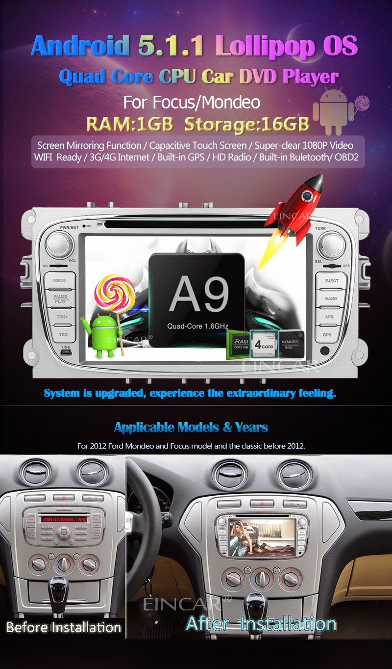 Android 5 1 3D Navigation GPS DVD Player Auto Radio Autoradio Headunit For  Ford S-max 2008-2012 Focus 2008-2010 Galaxy 2010-2012 In Deck Car Video