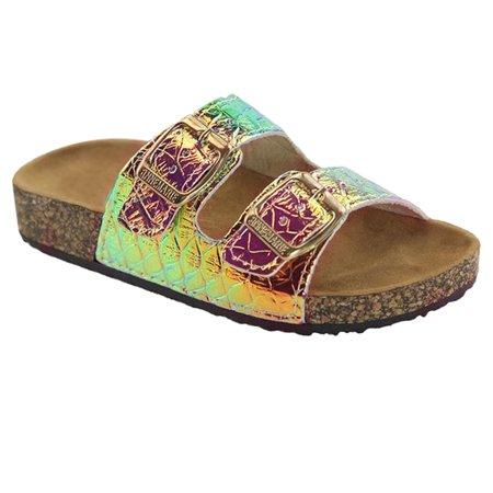 af7a1495d55e SNJ - NEW Glitter Solid Double Strap Cork Sole Slide Sandals for Girls, Kids,  & Children (FREE SHIPPING) - Walmart.com