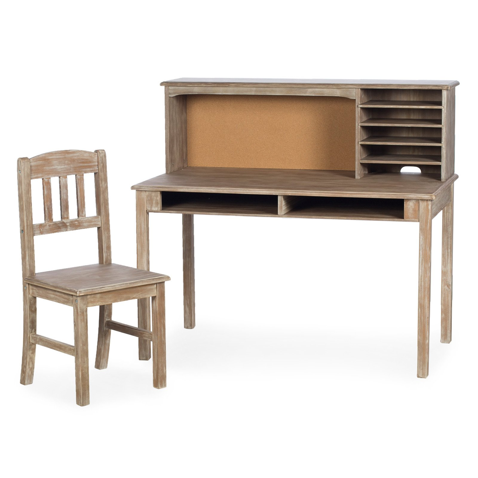 Guidecraft Kids Media Writing Desk & Chair Set - Weathered Wood
