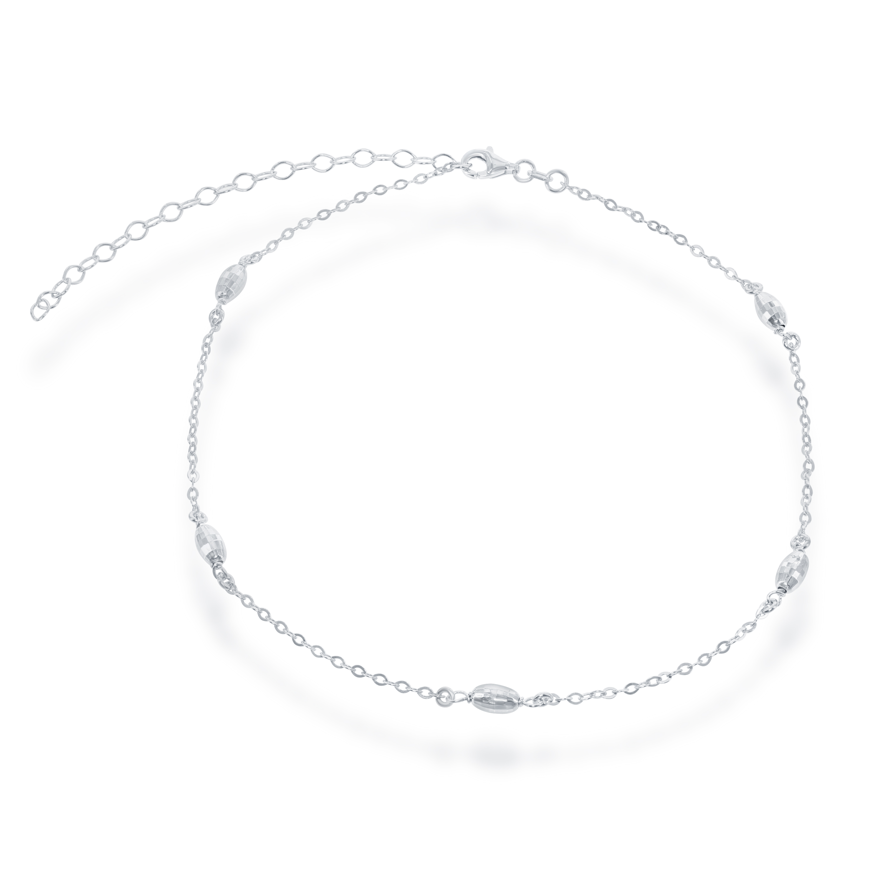 "Sterling Silver 12"" + 3"" Italian Diamond-Cut Oval MoonBeads Choker Necklace"