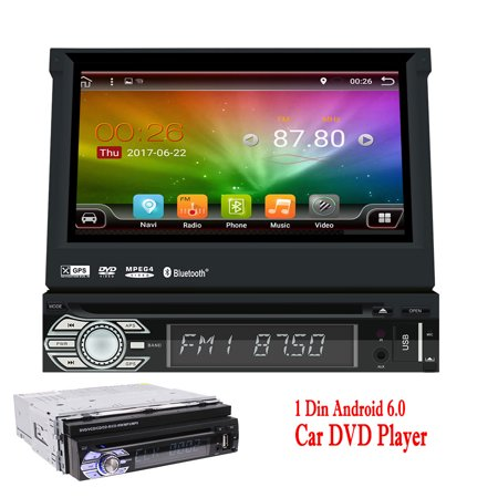 7 inch Android Car Stereo DVD - 1 Din Bluetooth Radio - GPS Navigation, Phone Mirror, 3G/4G, Wifi, obd2, 1080P, Dual Zone Function, Camera Input, Subwoofer, Video out Autoradio Head (Best Single Din Android Head Unit)